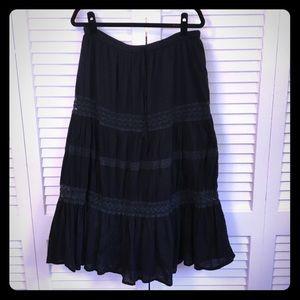 Peppermint Bay Festival Black Boho Skirt, L